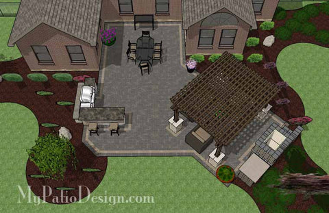 Rear Courtyard Paver Patio Design with Pergola, Fireplace and Bar 2