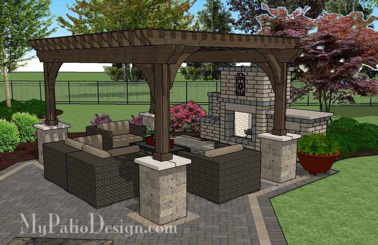 ... Rear Courtyard Paver Patio Design With Pergola, Fireplace And Bar 7 ...
