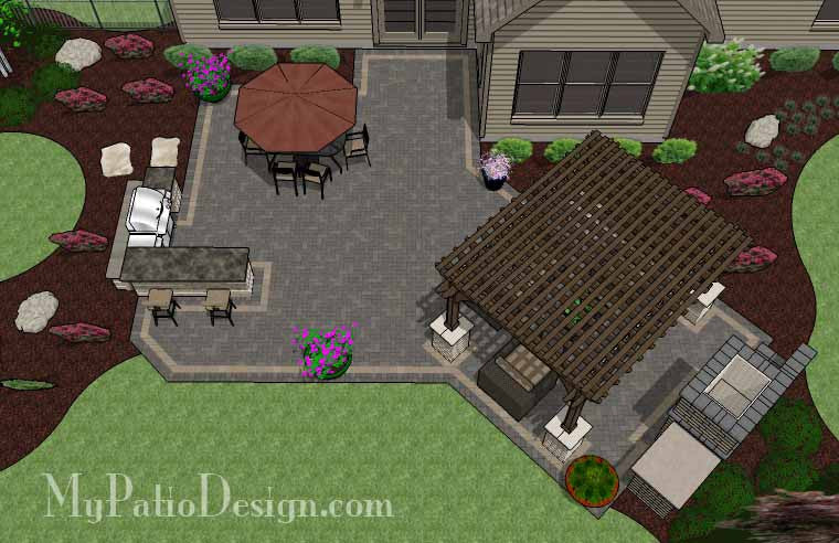 Rear Paver Patio Design With Pergola, Fireplace And Bar