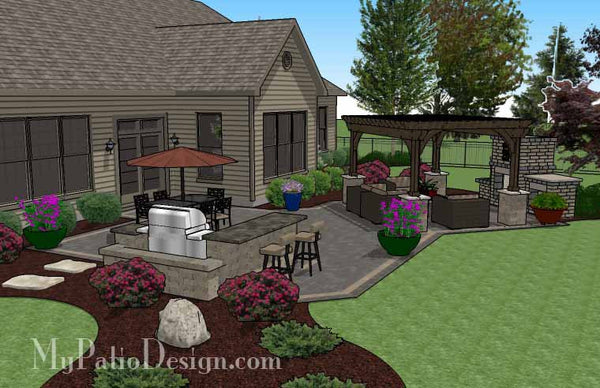 Rear Paver Patio Design With Pergola Fireplace Amp Bar