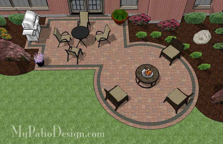 Rectangle Patio Design with Circle Fire Pit Area & 01. Patio Designs for Straight Houses u2013 MyPatioDesign.com