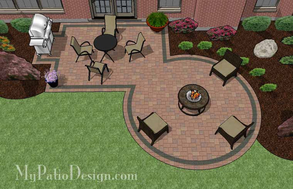 395 sq. ft. - Rectangle Patio Design with Circle Fire Pit ... on Rectangular Patio Design id=16231