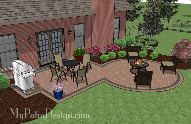 rectangle patio design with circle fire pit area - 395 sq. ft ... - Patio Designs With Fire Pit Pictures