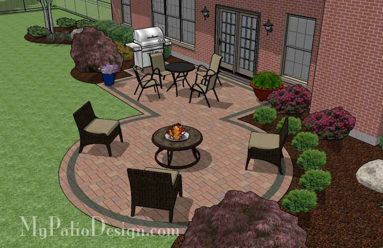 ... Rectangle Patio Design with Circle Fire Pit Area 4 ... - Rectangle Patio Design With Circle Fire Pit Area €� MyPatioDesign.com
