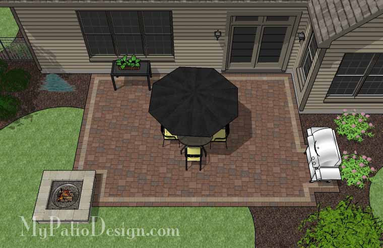 Rectangular Patio  Design with Fire Pit 2