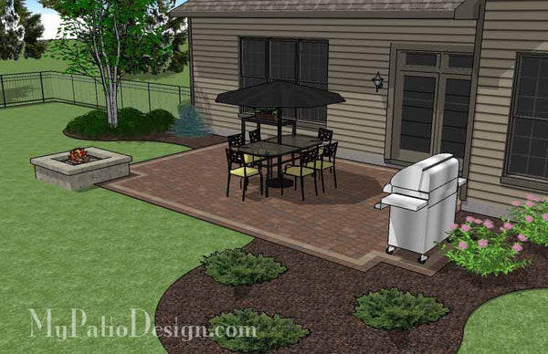 Rectangular Patio Design with Fire Pit | Downloadable Plan ... on Rectangular Patio Design id=86283