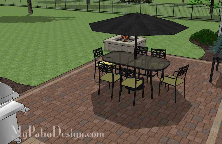 Rectangular Patio Design with Fire Pit | Downloadable Plan ... on Rectangular Patio Design id=42661