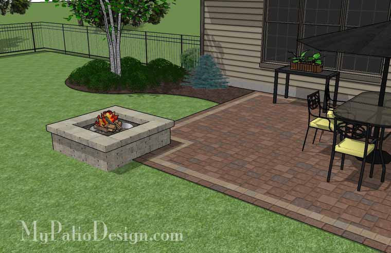 Rectangular Patio Design with Fire Pit | Downloadable Plan ... on Rectangular Patio Design id=75722