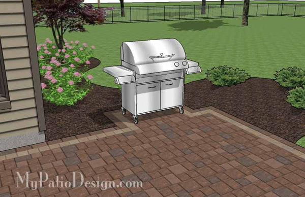 Rectangular Patio Design with Fire Pit | Downloadable Plan ... on Rectangular Patio Design id=13144