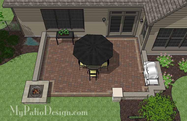 Rectangular Patio  Design with Seat Walls and Fire Pit 2