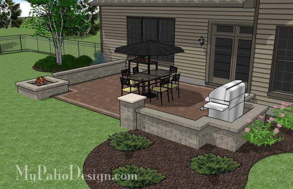 Rectangular Patio Design with Seat Walls and Fire Pit ... on Rectangular Patio Design id=44875