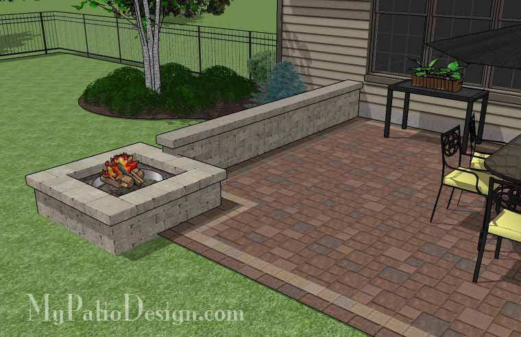 Rectangular Patio Design with Seat Walls and Fire Pit Download