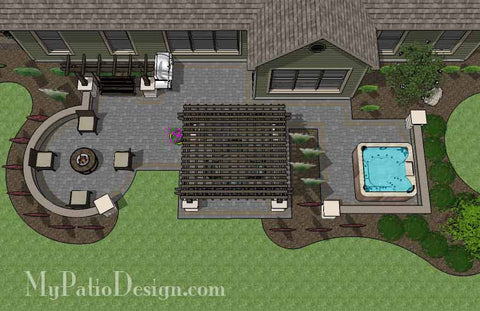Relaxing Outdoor Living Design with Pergola and Hot Tub 1