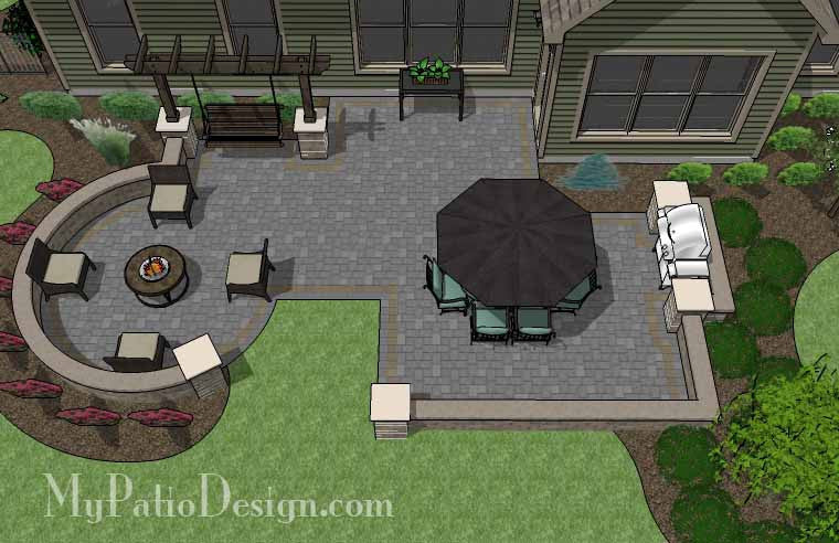 Relaxing Outdoor Living Design with Seat Walls and Swing 1