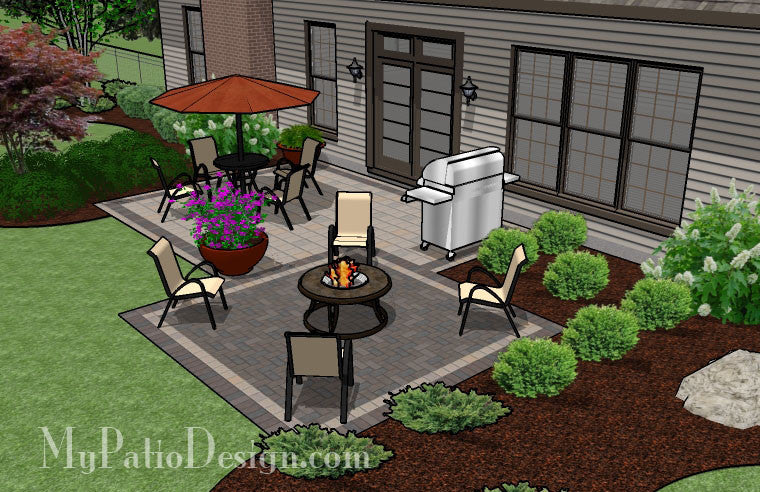 simple and affordable brick patio design | downloadable plan ... - Brick Patio Design