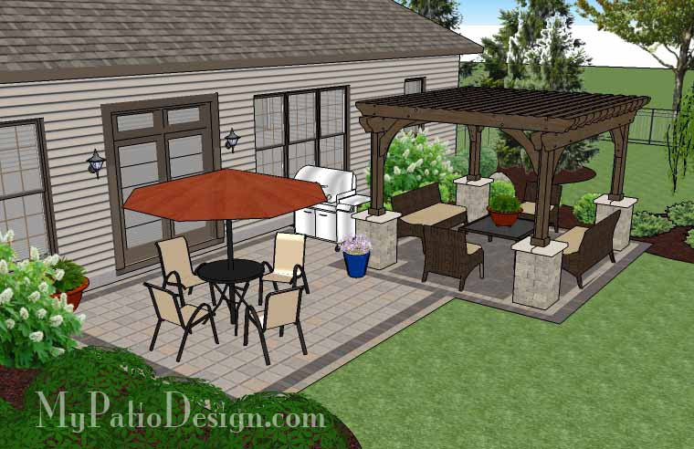 Exceptional ... Simple And Affordable Brick Patio Design With Pergola 3 ...