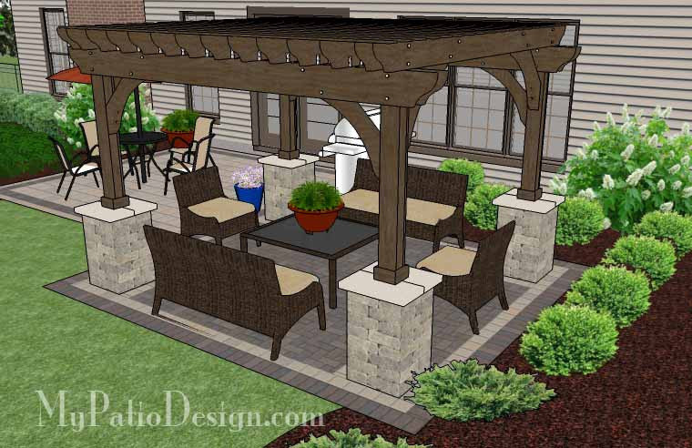 Backyard With Pergola 470 sq. ft. - simple and affordable brick patio design with pergola