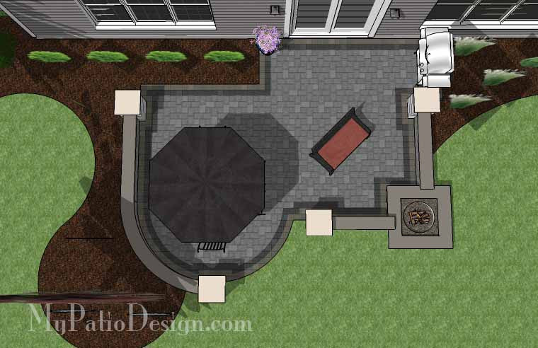 Simple Outdoor Patio Design With Built In Fire Pit