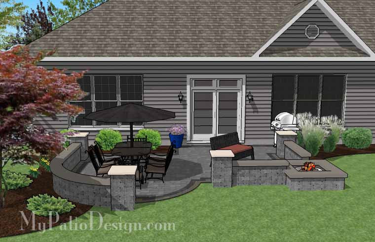 ... Simple Outdoor Patio Design With Built In Fire Pit #3 ...