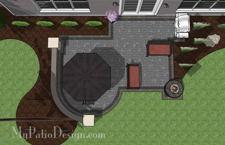 Simple Outdoor Patio Design with Portable Fire Pit #2