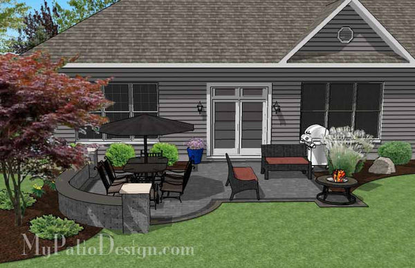 Simple Outdoor Patio Design With Portable Fire Pit