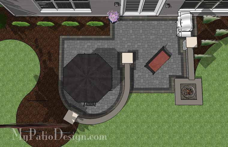 simple outdoor patio design with seat walls and fire pit ... - Simple Patio Design