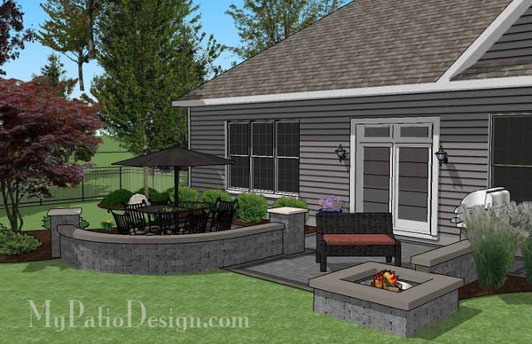 Simple Outdoor Patio Design with Seat Walls and Fire Pit ... on Simple Patio Designs With Fire Pit id=91484