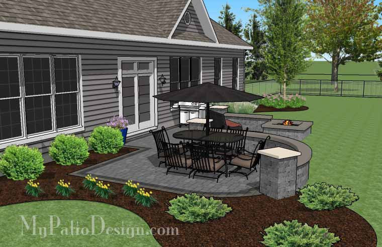 simple outdoor patio design with seat walls and fire pit