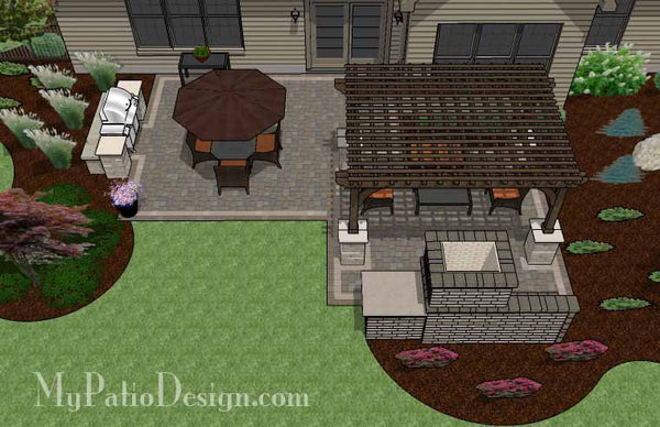 simple patio design with pergola fireplace and grill station