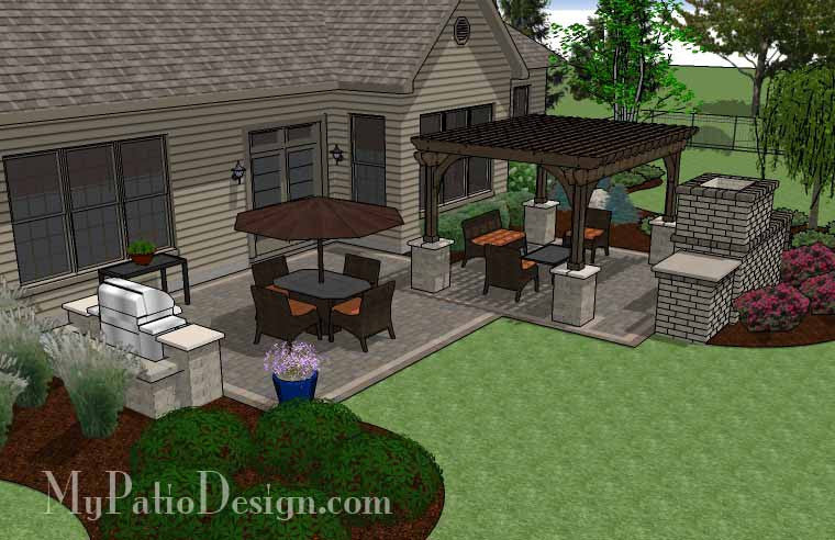 simple patio design with pergola, fireplace and grill station ... - Patio Designs With Fireplace