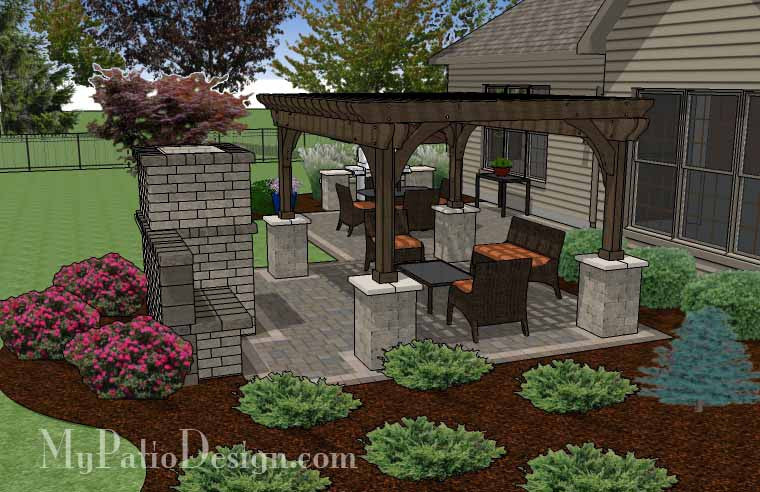 ... Simple Patio Design with Pergola, Fireplace and Grill Station 4 ... - Simple Patio Design With Pergola, Fireplace And Grill Station