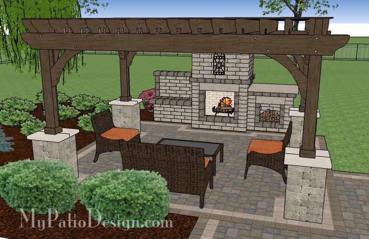 Simple Patio Design With Pergola Fireplace And Grill