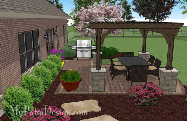 Simple Paver Patio Design with Pergola | Download Plan ... on Basic Patio Designs id=73746