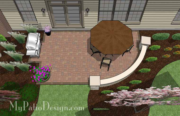 315 Sq Ft Small Concrete Paver Patio Design With Seat Wall