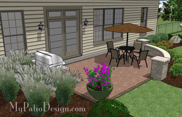 315 sq. ft. - Small Concrete Paver Patio Design with Seat ... on Patio Designs For Straight Houses id=72046