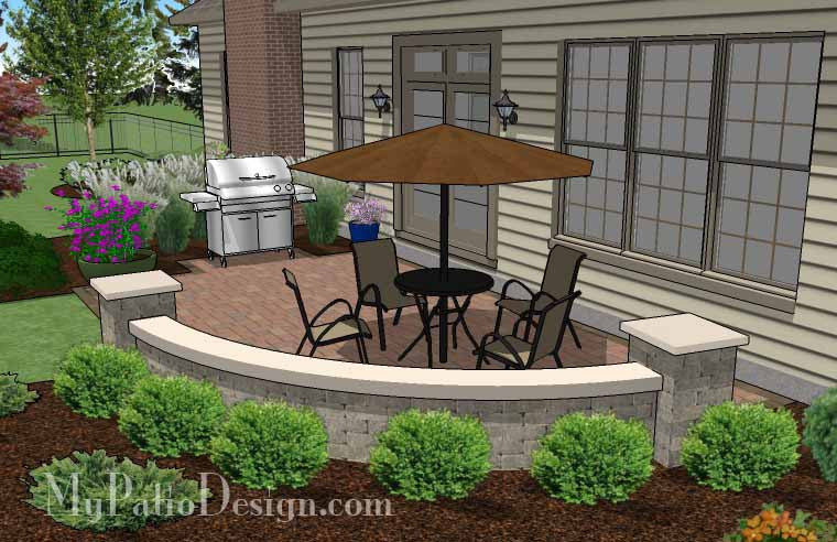 ... Small Concrete Paver Patio Design With Seat Wall 4 ...