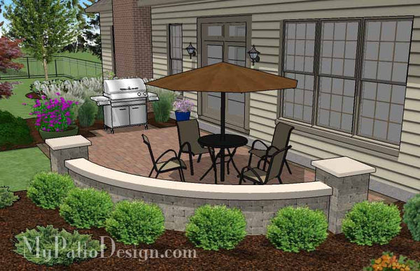 small concrete paver patio design with seat wall 315 sq ft