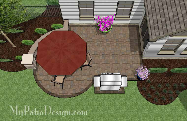 Small Courtyard Patio Design with Seat Wall 2
