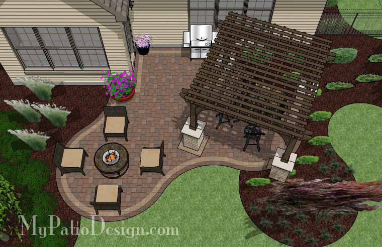 Small Outdoor Living Patio Design With Pergola Download Plan Mypatiodesign Com