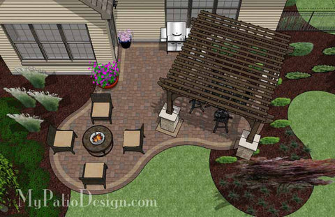 Small Outdoor Living Patio Design with Pergola 2