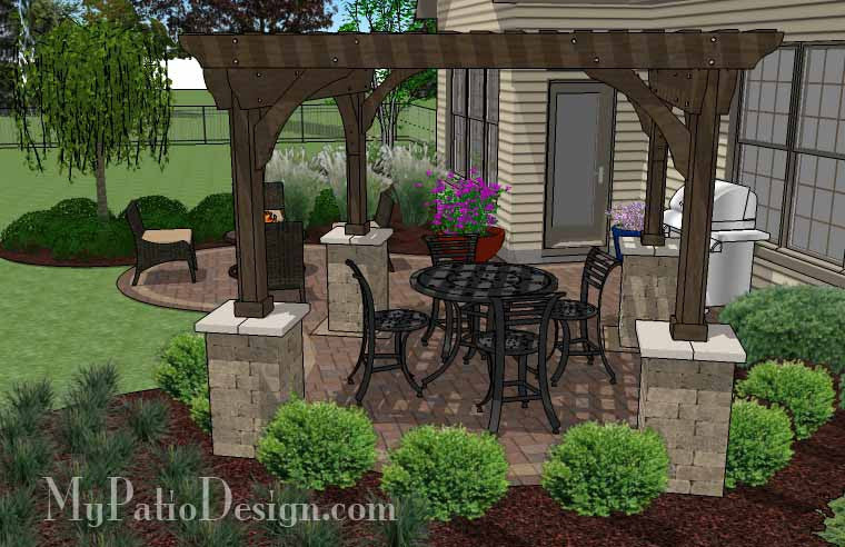... Small Outdoor Living Patio Design with Pergola 4 ... - Small Outdoor Living Patio Design With Pergola Download Plan