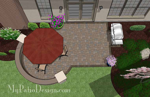 Small Patio Design on a Budget with Seat Wall 2