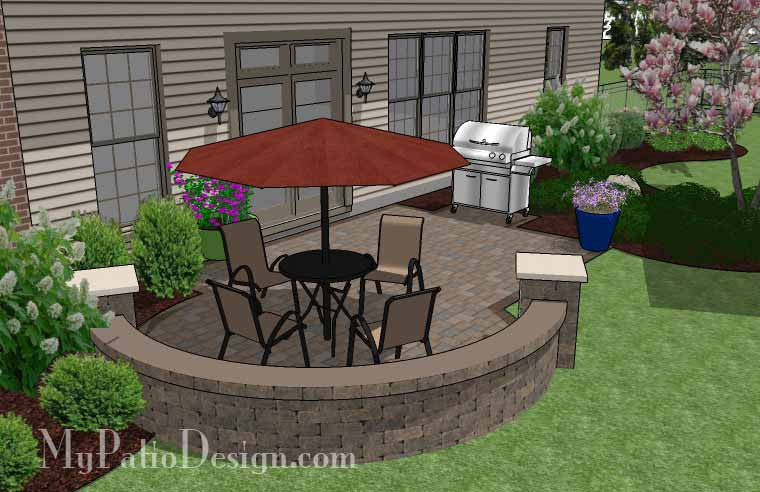 290 Sq Ft Small Patio Design On A Budget With Seat Wall Mypatiodesign Com