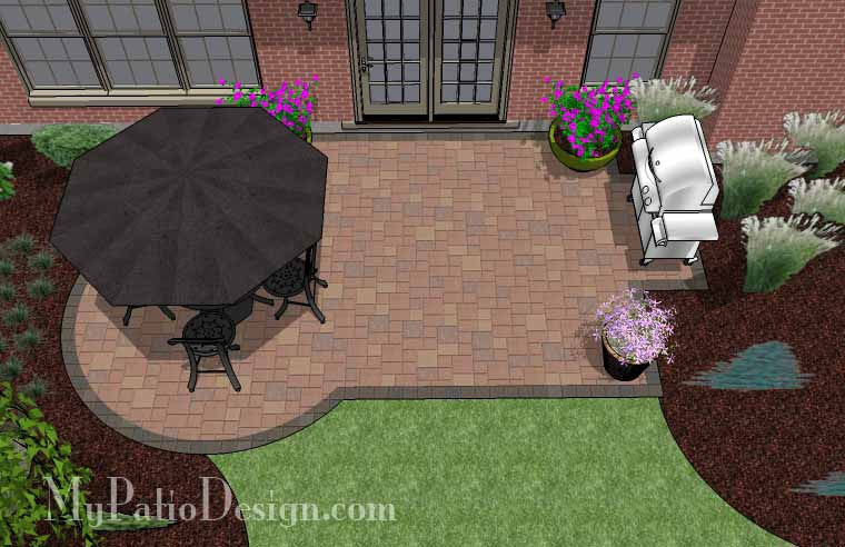 Small Paver Patio Design | Patio Layout and Material List ... on Small Backyard Paver Patio Ideas id=91600