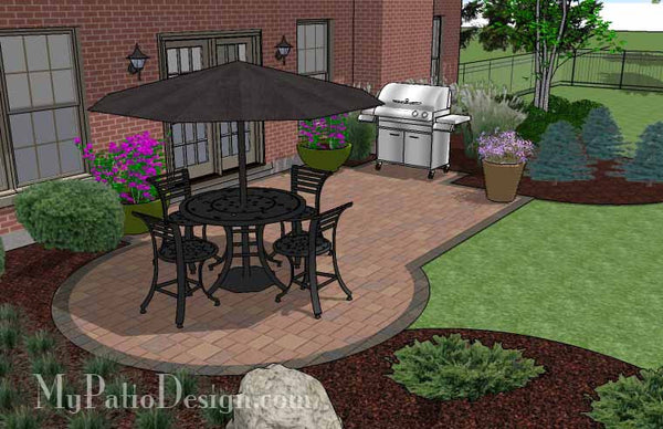 Small Paver Patio Design | Patio Layout and Material List ... on Patio Designs For Straight Houses id=12755