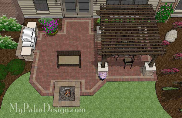 Traditional Brick Patio Design with Pergola and Fire Pit | Download Plan u2013 MyPatioDesign.com & Traditional Brick Patio Design with Pergola and Fire Pit | Download ...