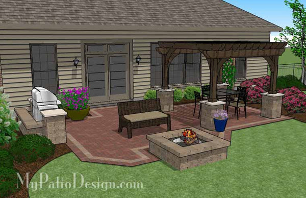 Traditional Brick Patio Design with Pergola and Fire Pit ... on Patio Designs For Straight Houses id=84880