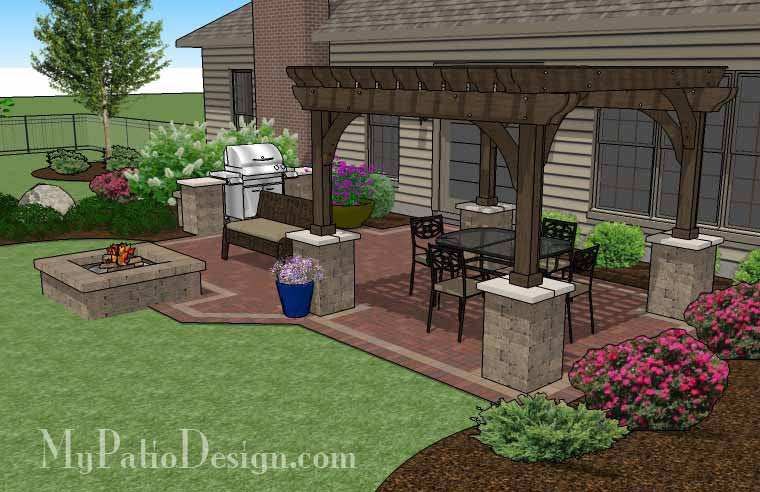 Genial ... Traditional Brick Patio Design With Pergola And Fire Pit 4 ...