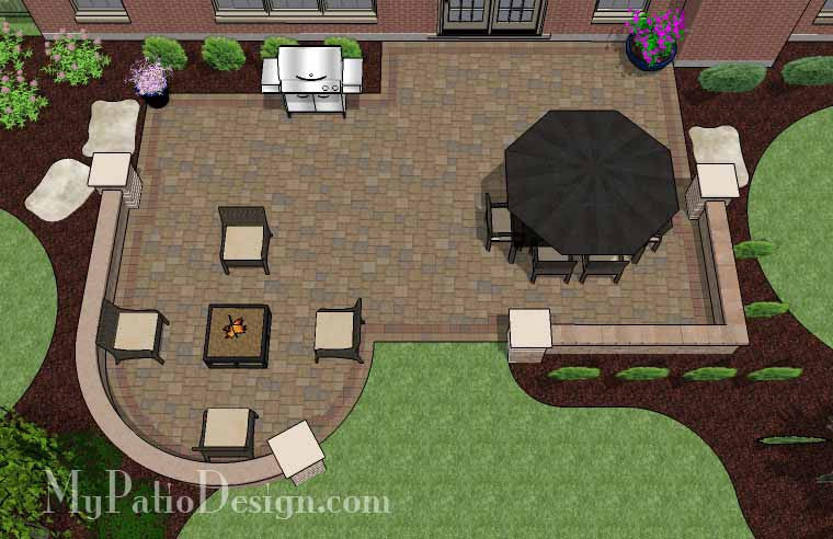 Traditional Patio Design with Seating Wall 2