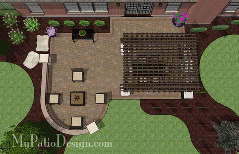 Traditional Patio Design with Seating Wall and Pergola 2